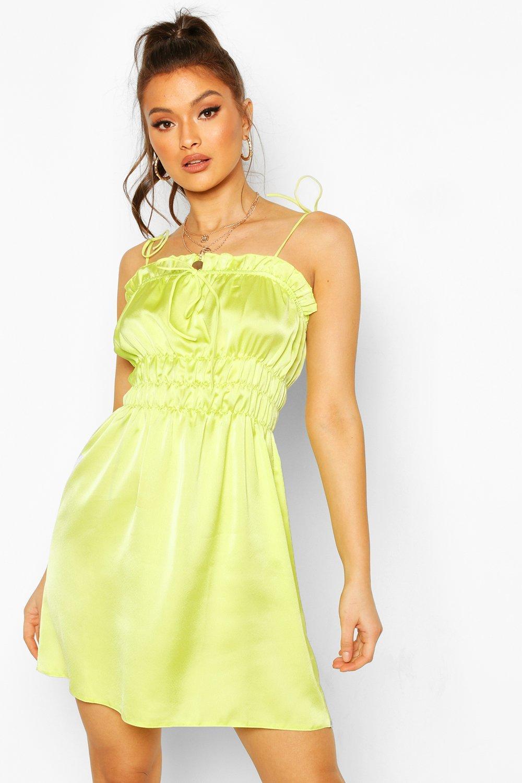 DRESSES Satin Strappy Shirred Skater Dress