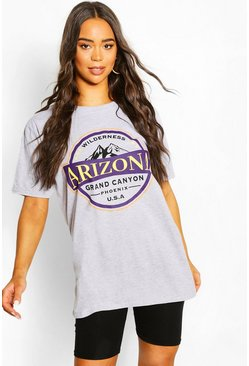 Grey marl Arizona Washed Slogan T-Shirt