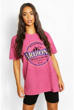 Raspberry pink Arizona Washed Slogan T-Shirt