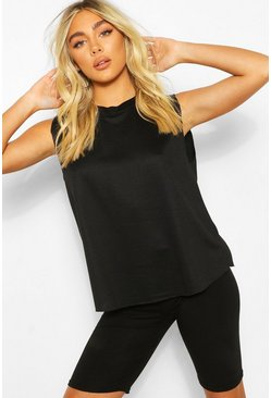 Black Jersey High Neck Tank Top