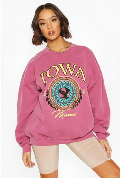 Berry red Iowa Washed Oversized Sweatshirt