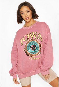 Terracotta orange Iowa Washed Oversized Sweatshirt