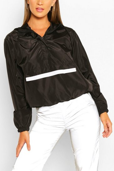 Black Reflective Panel Overhead Windbreaker