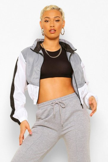 Grey Panelled Funnel Neck Windbreaker