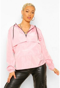 Pink Overhead Hooded Windbreaker