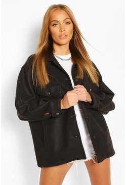 Black Soft Touch Oversized Shacket