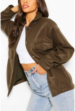 Khaki Soft Touch Oversized Shacket