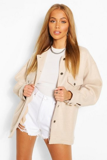 Sand beige Soft Touch Oversized Shacket