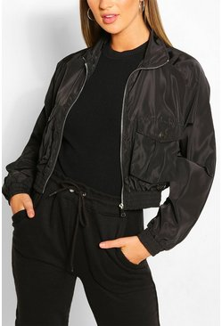 Black Pocket Detail Crop Windbreaker