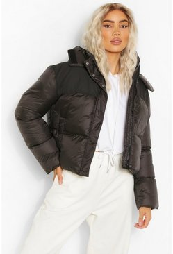 Black Fabric Panelled Puffer Jacket
