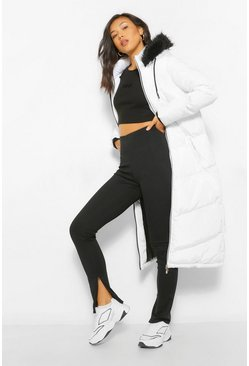White Longline Faux Fur Trim Puffer Jacket