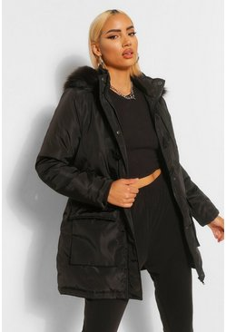 Black Toggle Detail Faux Fur Trim Parka