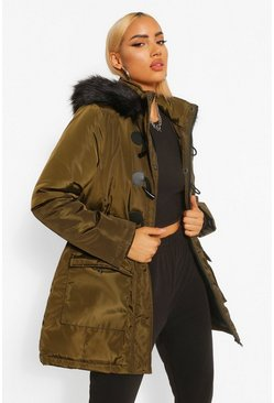 Khaki Toggle Detail Faux Fur Trim Parka