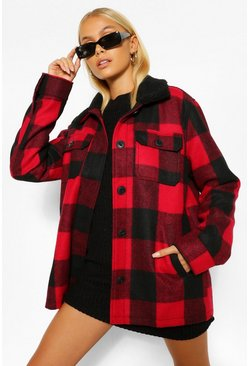 Red Oversized Check Shacket