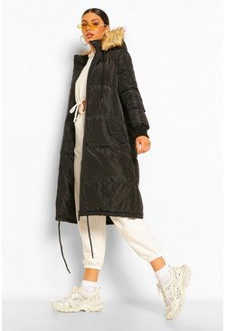 Black Faux Fur Trim Longline Parka