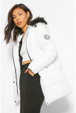 White Luxe Technical Faux Fur Trim Parka