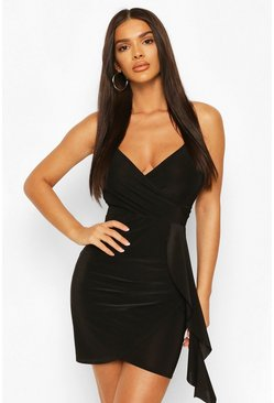 Black Neon Wrap Front Strappy Mini Dress