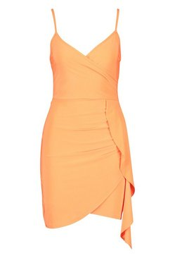 Orange Neon Wrap Front Strappy Mini Dress