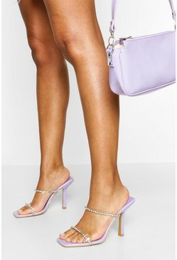 Lilac Square Toe Diamante Clear Strap Mules