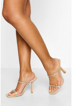 Nude Square Toe Diamante Clear Strap Mules