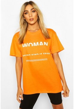 Camiseta con estampado Woman, Naranja