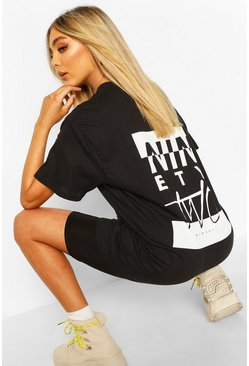 Black Ninety Two Slogan Print T-Shirt
