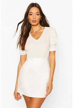 Ecru white Ribbed Puff Sleeve V Neck Top