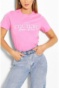 Camiseta con estampado Couture, Rosa