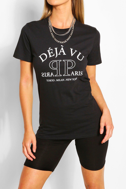 Black Deja Vu Printed T-Shirt