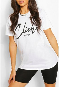 White Cliche Paris Printed T-Shirt