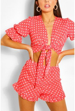 Coral pink Polka Dot Tie Front Top & Shorts Two-Piece