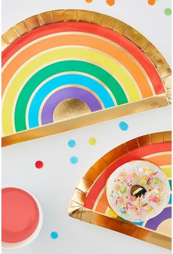 Multi Ginger Ray Rainbow Plates 8 Pack