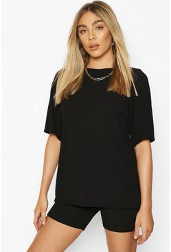 Black Oversized T-Shirt and Cycling Short Co-ord Set