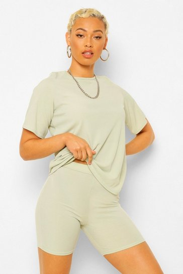 Sage green Oversized T-Shirt and Cycling Short Co-ord Set