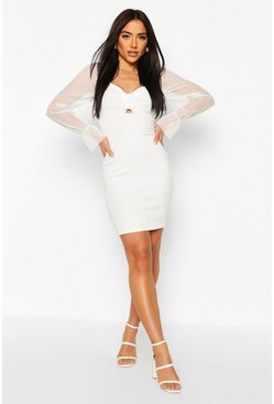 Ivory white Bandage Mini Dress With Ring