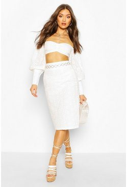 White Broderie Anglaise Lined Midi Skirt