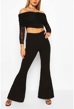 Mesh Bardot Ruched Top And Wide Leg Trouser Co-ord, Black negro