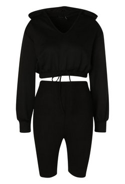 Black Hooded Crop Sweat Top and Cycling Short Co-Ord