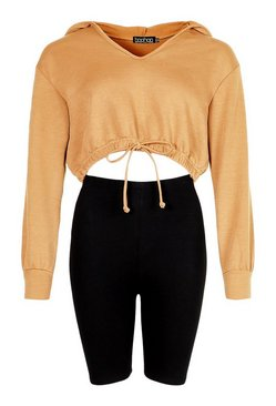 Camel Hooded Crop Sweat Top and Cycling Short Co-Ord