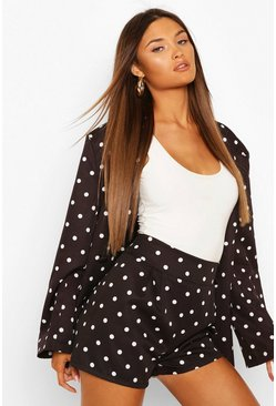 Black Pleated Front Polka Dot Tailored Shorts