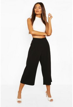 Black Pleat Front Culotte