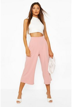 Dusky pink pink Pleat Front Culotte