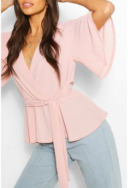 Blush pink Frill Sleeve Blouse