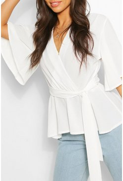 Ivory white Frill Sleeve Blouse