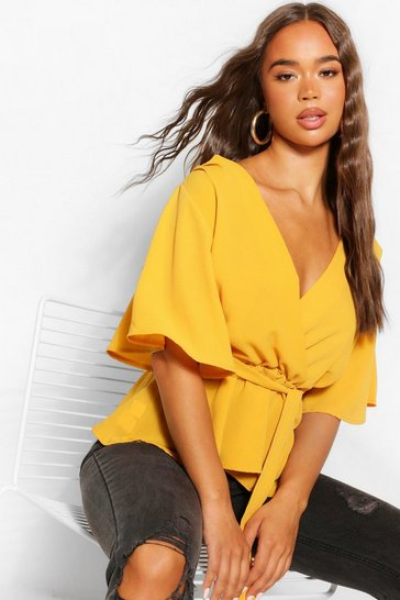 Mustard yellow Yellow Frill Sleeve Blouse