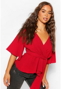 Wine red Frill Sleeve Blouse