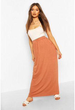 Terracotta orange Pocket Side Floor Sweeping Maxi Skirt