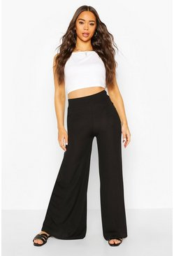 Black Extreme Wide Leg Ribbed Trousers