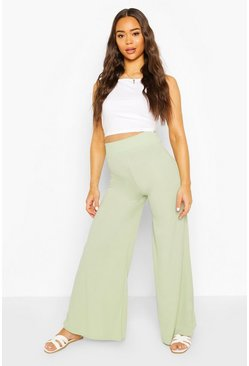 Sage green Extreme Wide Leg Ribbed Trousers