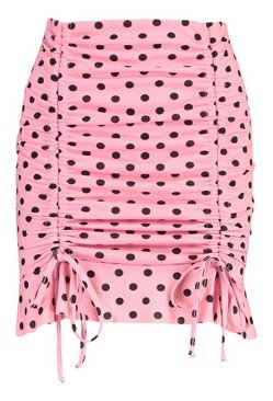 Pink Drawcord Ruched Polka Dot Mini Skirt